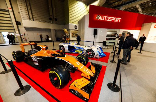 Autosport International Exhibition. National Exhibition Centre, Birmingham, UK. Friday 12th January 2018. A McLaren and Robocar next to the Autosport Stage. World Copyright: Glenn Dunbar/LAT Images Ref: _X4I8217