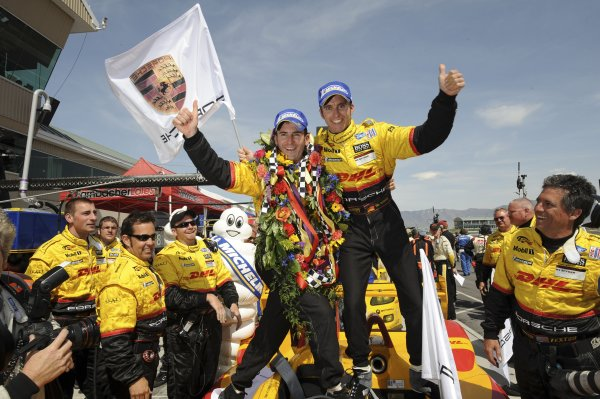 16-18 May, 2008, Tooele, Utah, USARomain Dumas and Timo Bernhard celebrate another Penske Porsche overall victory.©2008, Richard Dole, USALAT Photographic