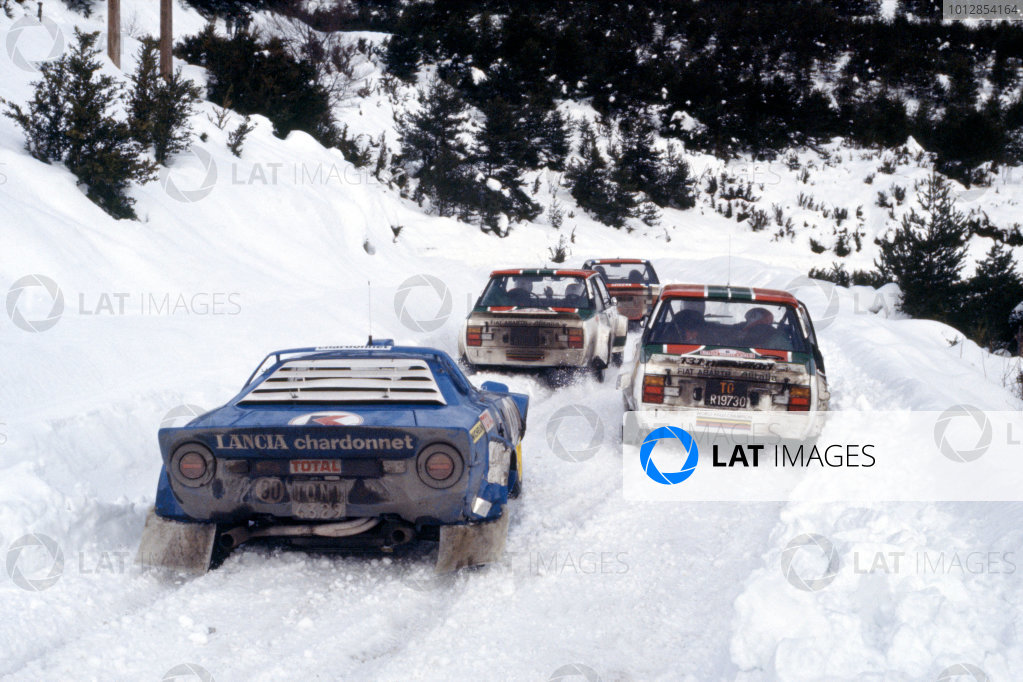 FIA World Rally Championship. Monte Carlo Rally.21st - 28th January 1978.Michele Mouton's Lancia Stratos follows Verini's Fiat at the Col de Perty.World Copyright:LAT PhotographicRef: 35mm Image