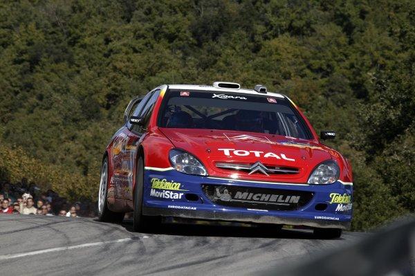 2003 FIA World Rally Champs. Round 13 Catalunya Rally 23rd-26th October 2003.Sebastien Loeb, Citroen, action. World Copyright: McKlein/LAT