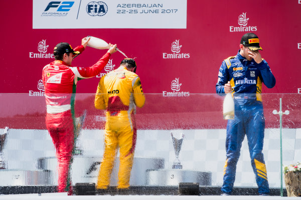 2017 FIA Formula 2 Round 4. Baku City Circuit, Baku, Azerbaijan. Sunday 25 June 2017. Charles Leclerc (MCO, PREMA Racing), Norman Nato (FRA, Pertamina Arden), Nicholas Latifi (CAN, DAMS)  Photo: Zak Mauger/FIA Formula 2. ref: Digital Image _56I8696