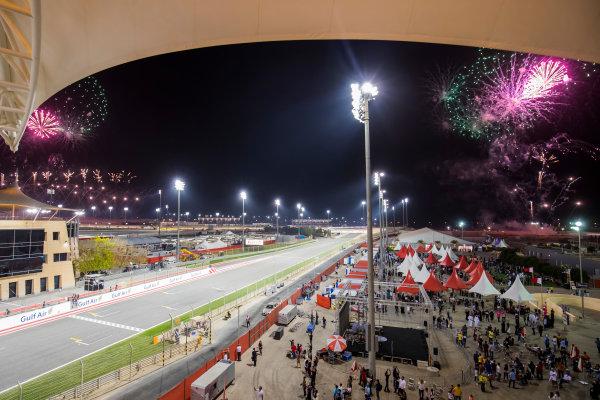 Bahrain International Circuit, Sakhir, Bahrain.  Sunday 16 April 2017. Fireworks erupt around the circuit as the race comes to an end. World Copyright: Sam Bloxham/LAT Images ref: Digital Image _W6I3039