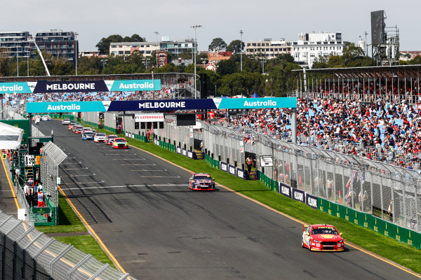 Australian Supercars Series Albert Park, Melbourne, Australia. Sunday 26 March 2017. Race 4. Fabian Coulthard, No.12 Ford Falcon FG-X, Shell V-Power Racing Team, leads Jamie Whincup, No.88 Holden Commodore VF, Red Bull Holden Racing Team.  World Copyright: Zak Mauger/LAT Images ref: Digital Image _56I0197