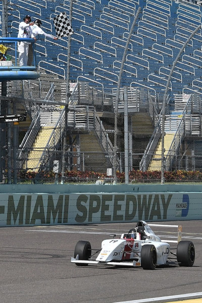 2017 F4 US Championship Rounds 1-2-3 Homestead-Miami Speedway, Homestead, FL USA Sunday 9 April 2017 Checkered flag for race #3 winner, Timo Reger World Copyright: Dan R. Boyd/LAT Images