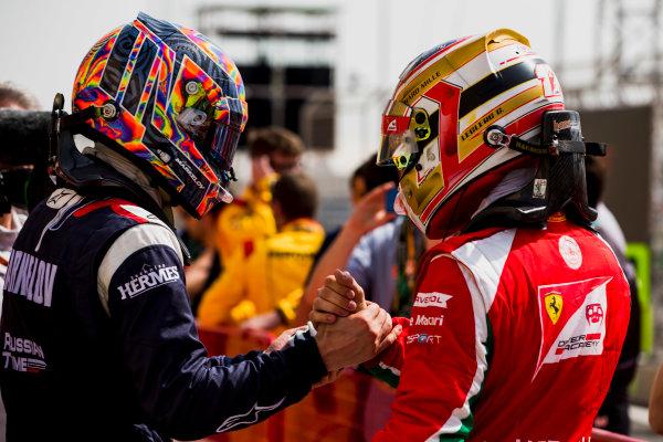 2017 FIA Formula 2 Round 1. Bahrain International Circuit, Sakhir, Bahrain.  Saturday 15 April 2017. Artem Markelov (RUS, RUSSIAN TIME), Charles Leclerc (MCO, PREMA Racing)  Photo: Zak Mauger/FIA Formula 2. ref: Digital Image _X0W4509
