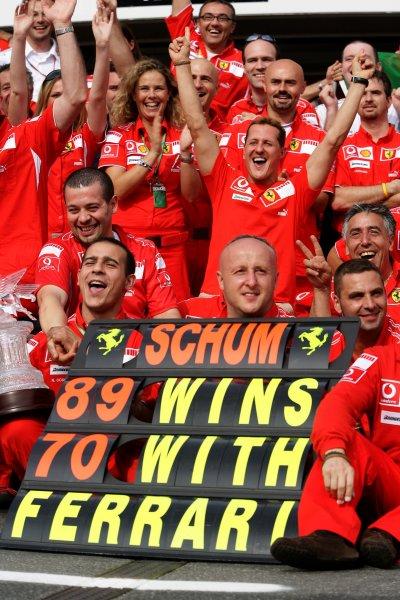 2006 German Grand Prix - Sunday Race Hockenheim, Germany. 27th - 30th July. Michael Schumacher, Ferrari 248F1, 1st position, celebrates his 89th win and 70th for Ferrari, portrait. World Copyright: Charles Coates/LAT Photographic ref: Digital Image ZK5Y2560