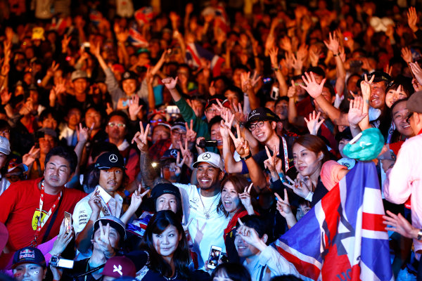 Suzuka Circuit, Japan. Saturday 7 October 2017. Lewis Hamilton, Mercedes AMG, in the crowd at the F1 fanzone stage. World Copyright: Andrew Hone/LAT Images  ref: Digital Image _ONY8044