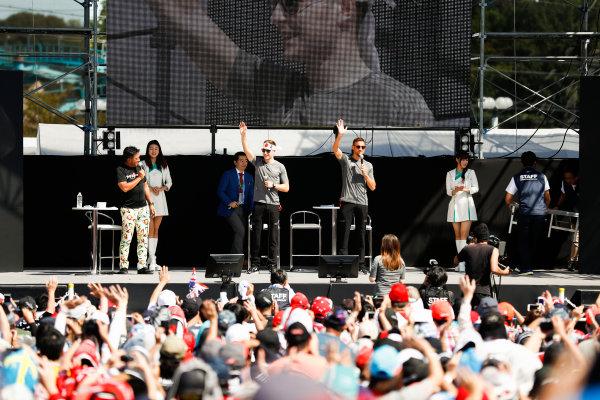 Suzuka Circuit, Japan. Sunday 08 October 2017. Stoffel Vandoorne, McLaren, and Jenson Button, McLaren, on the F1 stage. World Copyright: Glenn Dunbar/LAT Images  ref: Digital Image _X4I7499