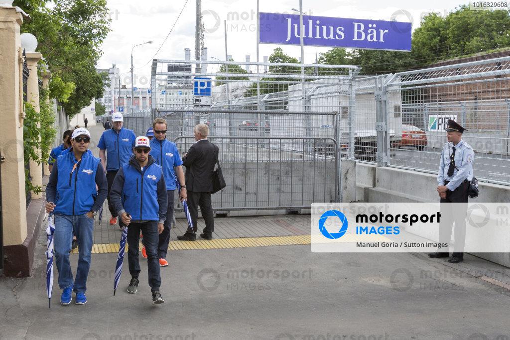 Salvador Duran (MEX) - Amlin Aguri and Antonio Felix da Costa (PRT) - Amlin Aguri during the track walk at Formula E Championship, Rd9, Moscow, Russia, 4-6 June 2015.