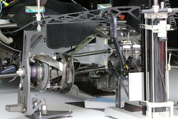 Mercedes AMG F1 W05 front wheel hub and front suspension. Formula One World Championship, Rd6, Monaco Grand Prix, Preparations, Monte-Carlo, Monaco, Wednesday 21 May 2014.