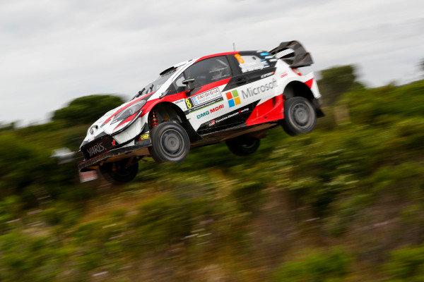Ott Tanak pictured flying through the gorse bushes on Rally d'Italia Sardinia