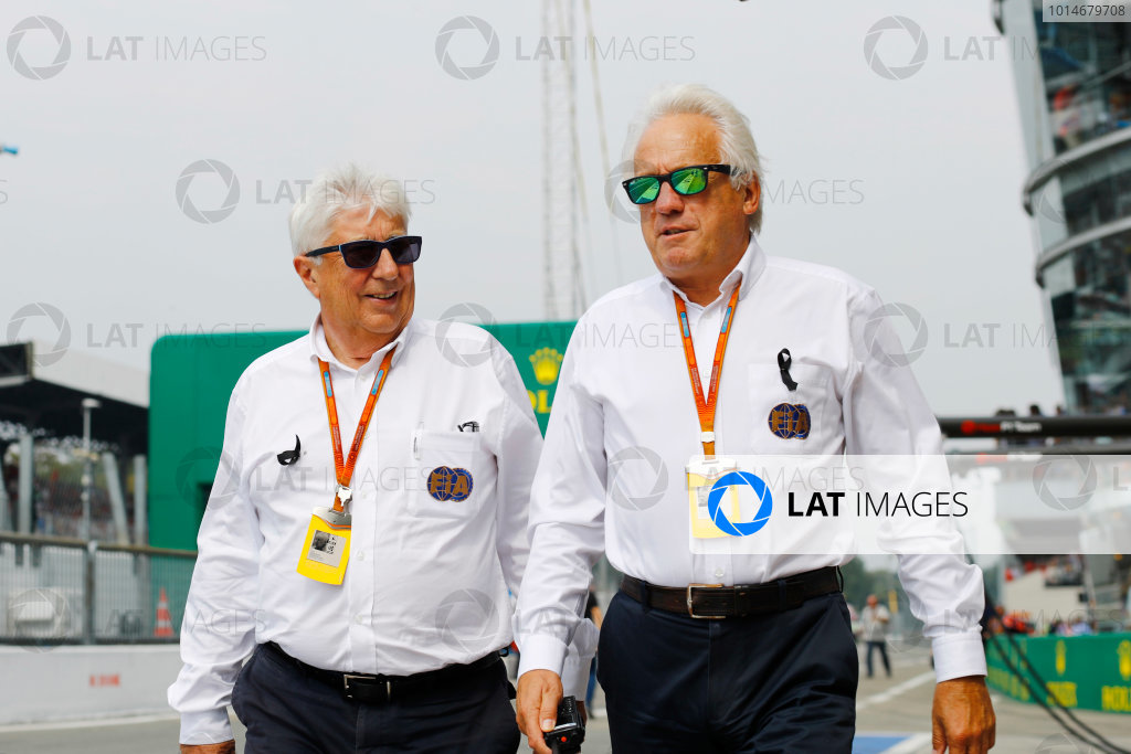 Autodromo Nazionale di Monza, Italy. Sunday 04 September 2016. Herbie Blash, Deputy Race Director, FIA, walks with Charlie Whiting, Race Director, FIA, in the pit lane. World Copyright: Steven Tee/LAT Photographic ref: Digital Image _R3I6983