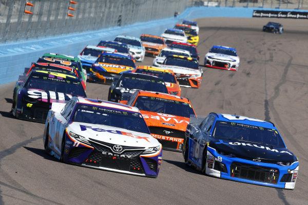 #11: Denny Hamlin, Joe Gibbs Racing, Toyota Camry FedEx Freight and #8: Daniel Hemric, Richard Childress Racing, Chevrolet Okuma