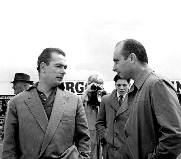 Formula 1 World Championship.Jean Behra (left) and Juan Manuel Fangio.Ref-1017.World - LAT Photographic