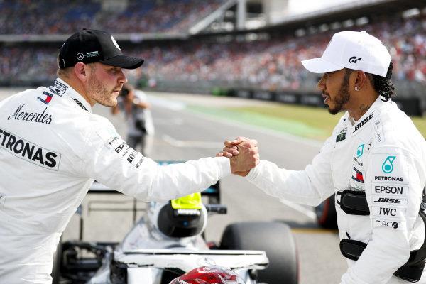 Valtteri Bottas, Mercedes AMG W10 and Pole Sitter Lewis Hamilton, Mercedes AMG F1 celebrate in Parc Ferme