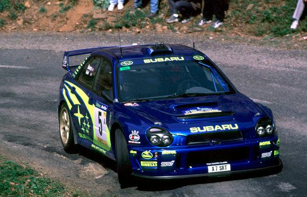 2001 World Rally Championship. Catalunya Rally, Spain. 22nd - 25th March 2001. Rd 4. Richard Burns / Robert Reid, Subaru Impreza WRC, action. World Copyright: McKlein / LAT Photographic. Ref: A13