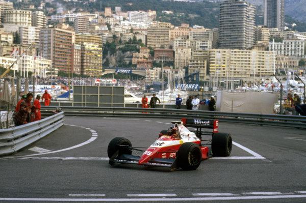 Monte Carlo, Monaco.4-7 May 1989.Aguri Suzuki (Zakspeed 891 Yamaha) at Rascasse. He did not prequalify.Ref-89 MON 31.World Copyright - LAT Photographic