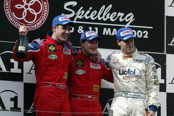 2002 F3000 ChampionshipA1-Ring, Austria. 11th May 2002.Podium positions for Tomas Enge (1), Bjorn Wirdheim (2) and Mario Haberfeld (3).World Copyright: LAT Photographicref: Digital Image Only