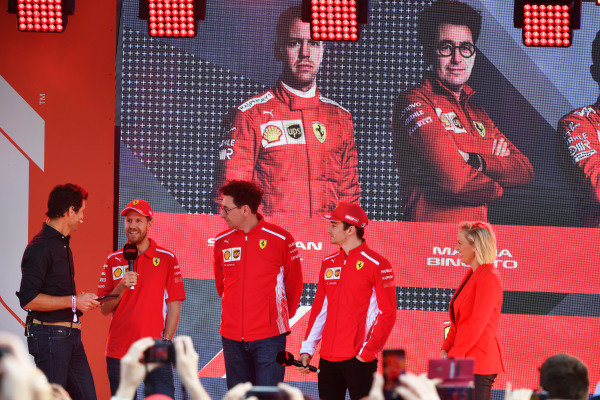 Sebastian Vettel, Ferrari, Mattia Binotto, Team Principal Ferrari, and Charles Leclerc, Ferrari, at the Federation Square event