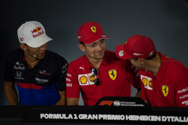 Pierre Gasly, Toro Rosso, Charles Leclerc, Ferrari and Sebastian Vettel, Ferrari in the Press Conference