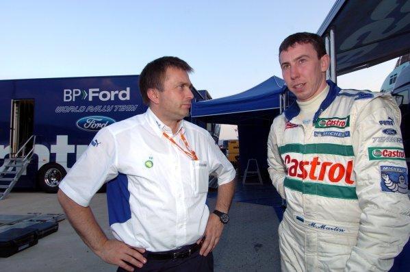 2004 FIA World Rally Championship, Rally Italia Sardinia, Sept 30-Oct 3, 2004Olbia, Sardinia.L:  Jost Capito (GER) and Markko Martin (EST) at service.Digital Image