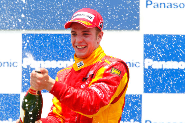 Round 3 Istanbul Park, Istanbul Turkey 30th May. Sunday Race.Dani Clos (ESP, Racing Engineering) celebrates his victory on the podium. Portrait. Photo: Glenn Dunbar/GP2 Media Service.Ref: _G7C4974 jpg