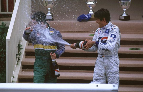 International F3000 MonacoMonte Carlo, Rd 5, 2nd - 3rd june 2000.Race winner Bruno Junqueira gets a face full of champagne from the 3rd placed David Saelens.World - Bellanca/ LAT PhotographicThree Thousand Monaco