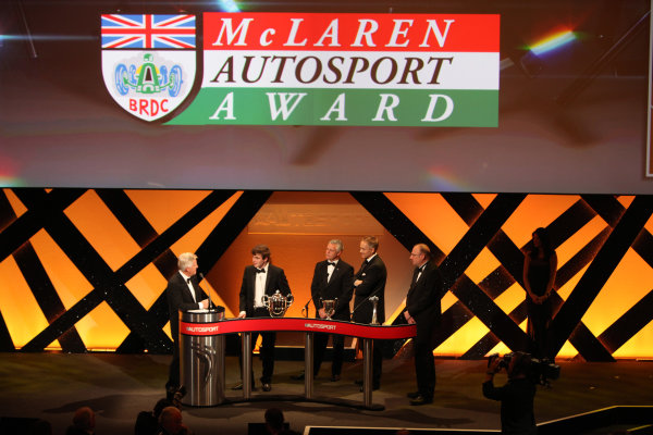 Grosvenor House Hotel, Park Lane, London 4th December 2011 Derek Warwick, Martin Whitmarsh and Peter Higham present the McLaren Autosport BRDC Young Driver of the Year Award to Oliver Rowland on the stage.World Copyright: Glenn Dunbar/LAT Photographic ref: Digtal Image GD5D0398