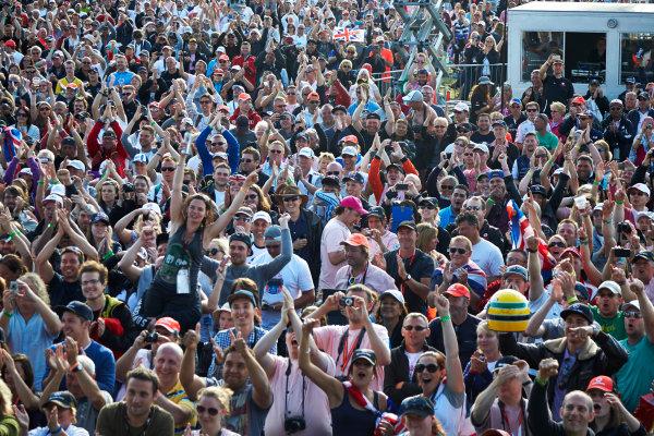 Silverstone, Northamptonshire, England. Sunday 6 July 2014. Huge crowds gather to celebrate a victory for Lewis Hamilton, Mercedes F1 W05 Hybrid. World Copyright: Steve Etherington/LAT Photographic. ref: Digital Image SNE20630