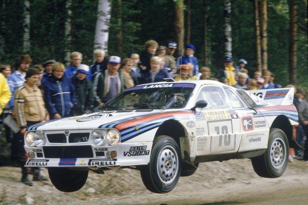 1984 World Rally Championship.1000 Lakes Rally, Finland. 26-28 August 1984.Henri Toivonen/Juha Piironen (Lancia Rally 037), 3rd position.World Copyright: LAT PhotographicRef: 35mm transparency 84RALLY21