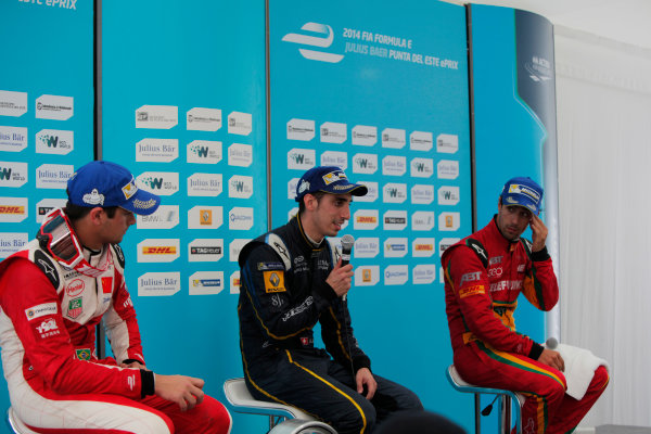 2014 FIA Formula E Championship. Punta del Este ePrix, Uruguay. Post-race press conference. Sebastien Buemi (SWI)/E.dams Renault - Spark-Renault SRT_01E (first position), Nelson Piquet Jr (BRA)/China Racing - Spark-Renault SRT_01E (second position) and Lucas di Grassi (BRA)/Audi Abt Sport - Spark-Renault SRT_01E (third position). Photo: Zak Mauger/LAT/FE ref: Digital Image _MG_0124