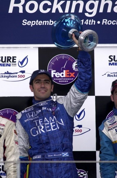 Dario Franchitti parlayed early race misfortune into a winning strategy at the Rockingham 500.  Rockingham Motor Speedway, Corby, GBR.  14  Sept., 2002. CC15B
