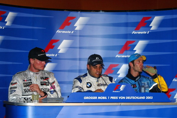 The post race press conference (L to R): David Coulthard (GBR) McLaren, second; Juan Pablo Montoya (COL) Williams, winner; Jarno Trulli (ITA) Renault (Who missed the TV conference) third.