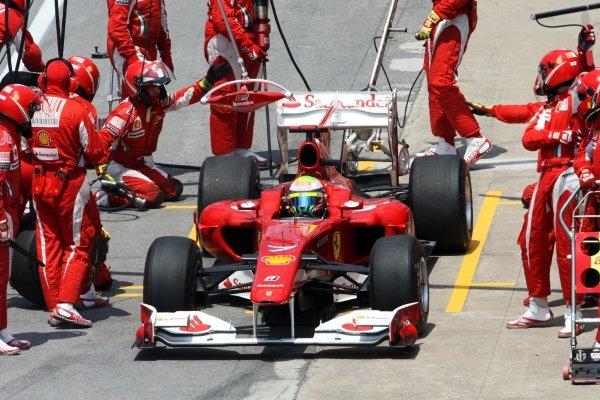 Felipe Massa (BRA) Ferrari F10 makes a pit stop. Formula One World Championship, Rd 8, Canadian Grand Prix, Race, Montreal, Canada, Sunday 13 June 2010.