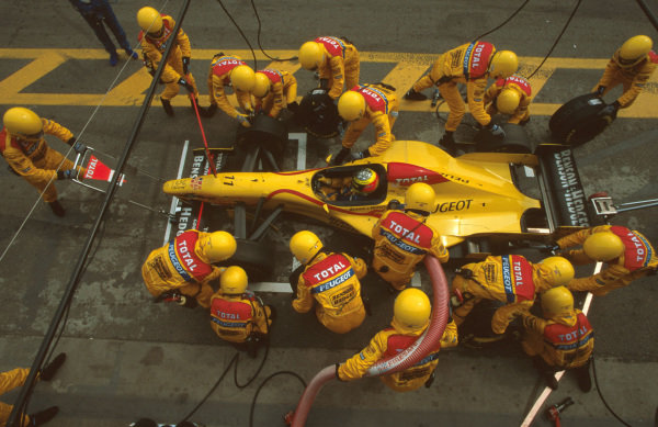 Interlagos, Brazil.28-30 March 1997.Ralf Schumacher (Jordan 197 Peugeot) takes a pitstop. He stopped after an electrics failure on lap 52.Ref-97 BRA 06.World Copyright - LAT Photographic
