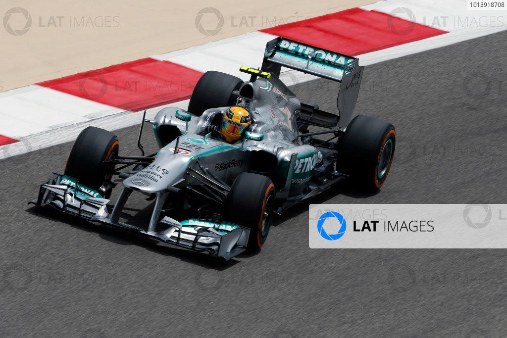 Bahrain International Circuit, Sakhir, Bahrain Friday 19th April 2013 Lewis Hamilton, Mercedes W04.  World Copyright: Charles Coates/LAT Photographic ref: Digital Image _N7T0398