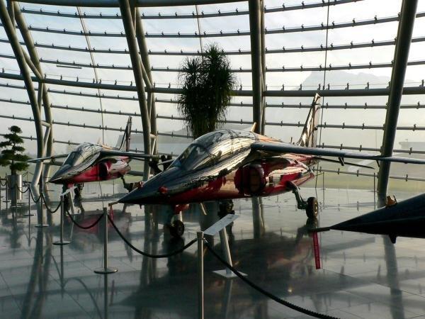 A Dassault - Breguet Alphajet in the Red Bull Hanger 7.Red Bull Hanger-7, Salzburg, Austria, 15 November 2004.DIGITAL IMAGE