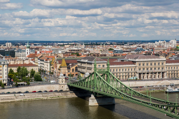 Hungaroring, Budapest, Hungary. Monday 5 June 2017. A view over the city, Liberty Bridge and the Danube River. World Copyright: Zak Mauger/LAT Images ref: Digital Image _56I0503