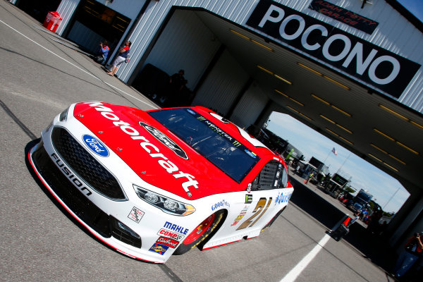 Monster Energy NASCAR Cup Series AXALTA presents the Pocono 400 Pocono Raceway, Long Pond, PA USA Friday 9 June 2017 Ryan Blaney, Wood Brothers Racing, Motorcraft/Quick Lane Tire & Auto Center Ford Fusion World Copyright: Lesley Ann Miller LAT Images ref: Digital Image lam_170609POC10207