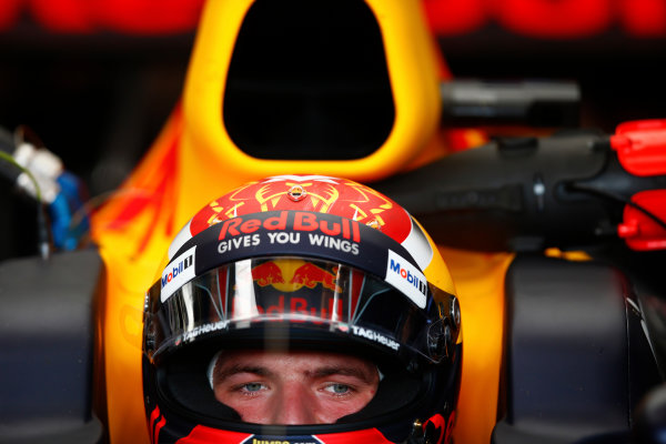 Red Bull Ring, Spielberg, Austria. Saturday 08 July 2017. Max Verstappen, Red Bull Racing, in cockpit with helmet visor open. World Copyright: Andy Hone/LAT Images ref: Digital Image _ONY0487