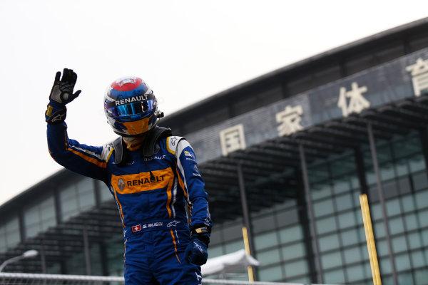 FIA Formula E Championship 2015/16. Beijing ePrix, Beijing, China. Sebastien Buemi (SUI), Renault e.Dams Z.E.15, celebrates his win Race Beijing, China, Asia. Saturday 24 October 2015 Photo: Sam Bloxham / LAT / FE ref: Digital Image _SBL7845