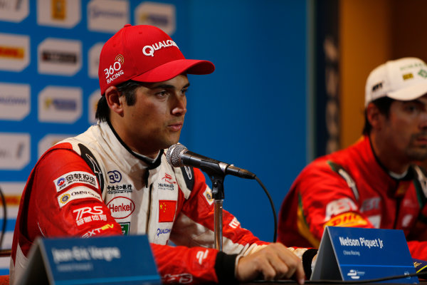2014/2015 FIA Formula E Championship. Long Beach ePrix, Long Beach, California, United States of America. Sunday 5 April 2015 Press Conference. Nelson Piquet Jr (BRA)/China Racing - Spark-Renault SRT_01E, first. ref: Digital Image _L0U8842