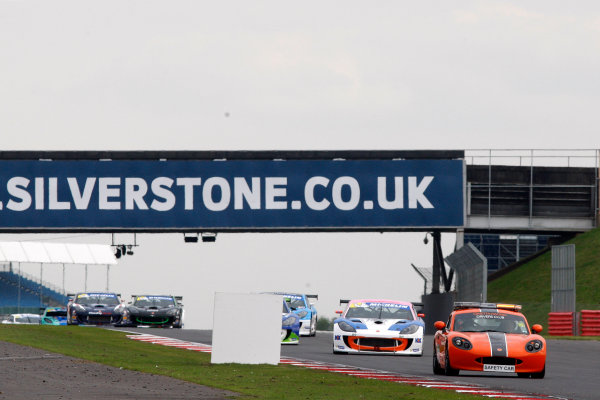 2014 Ginetta GT4 Supercup, Silverstone, England. 27th-28th September 2014. The safety car leads the field. World Copyright: Ebrey / LAT Photographic.