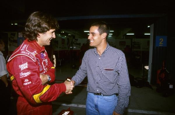 (L to R): Alex Zanardi (ITA) with Juan Pablo Montoya (COL).
