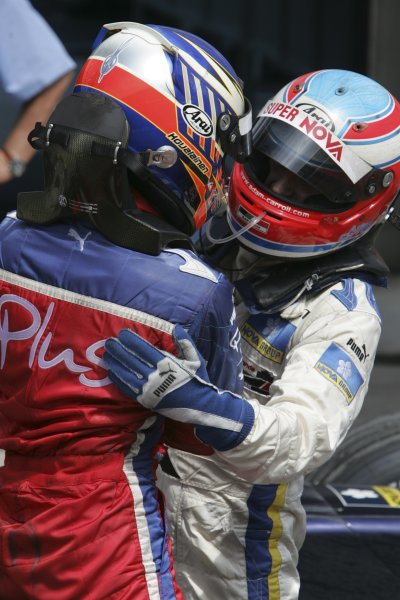 2005 GP2 Series - TurkeyIstanbul Park, IstanbulSunday Race 2Heikki Kovalainen ( fin, Arden) and Adam Carroll (GB, Super Nova International). congratulate each other Portrait. Copyright: GP2 Series Media Service ref: Digital Image Only