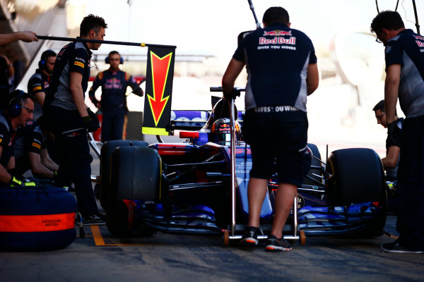Circuit de Barcelona Catalunya, Barcelona, Spain. Friday 10 March 2017. Carlos Sainz Jr, Toro Rosso STR12 Renault, makes a pit stop. World Copyright: Sam Bloxham/LAT Images ref: Digital Image _SLB0820