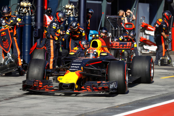 Albert Park, Melbourne, Australia. Sunday 26 March 2017. Max Verstappen, Red Bull Racing RB13 TAG Heuer, makes a pit stop. World Copyright: Steven Tee/LAT Images ref: Digital Image _R3I0791