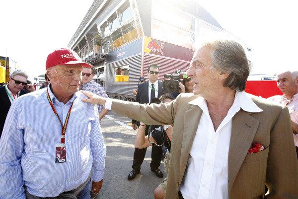 Circuit de Catalunya, Barcelona, Spain. Friday 9 May 2014. Niki Lauda, Non-Executive Chairman, Mercedes AMG, with Luca di Montezemolo, Chairman, Ferrari. World Copyright: Charles Coates/LAT Photographic. ref: Digital Image _J5R0367