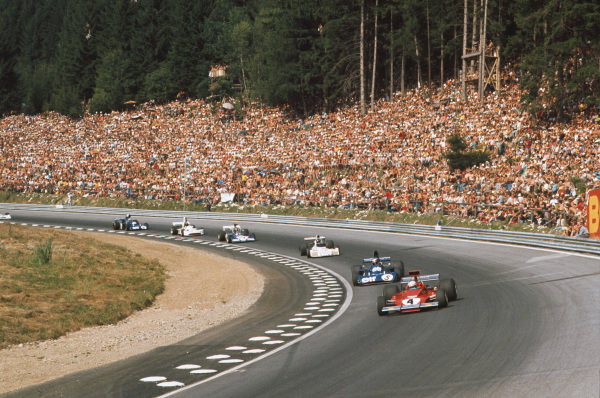 1973 Austrian Grand Prix.  Osterreichring, Austria. 17-19th August 1973.  Arturo Merzario, Ferrari 312B3, leads Jackie Stewart, Tyrrell 006 Ford, Carlos Reutemann, Brabham BT42 Ford, Carlos Pace, Surtees TS14A Ford, James Hunt, March 731 Ford, and Fran?ois Cevert, Tyrrell 006 Ford, at the Bosch Kurve.  Ref: 73AUT30. World Copyright: LAT Photographic