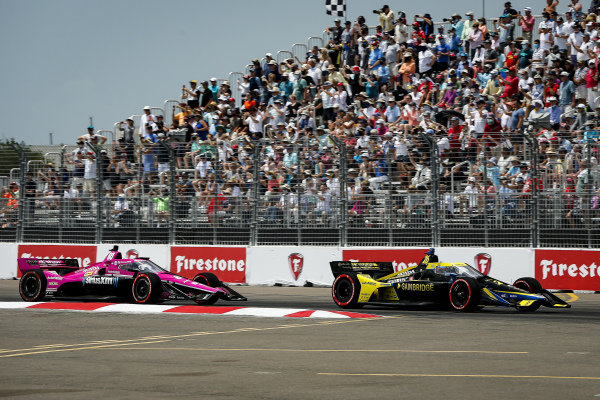 #26: Colton Herta, Andretti Autosport Honda and #60: Jack Harvey, Meyer Shank Racing Honda